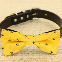Yellow Dog Bow tie attached to collar, birthday gift, Yellow-Navy bow tie
