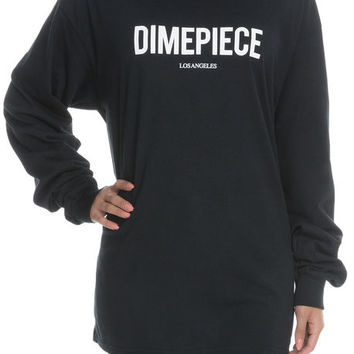 The Dimepiece Crewneck Long Sleeve in Black