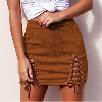 Autumn Winter Suede Leather Lace Up Women Pencil Skirt 2017 High Waist Vintage Zipper Split Bodycon Mini Short Skirts