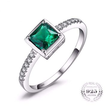Square Created Green Emerald Solitaire Ring 925 Sterling Silver