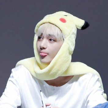 KPOP BTS Bangtan Boys Army home New  V seem style Fashion and Q-style Pikachu multifunctional Scarf Hat Gloves Neckerchief Lady Scarves Warm cap AT_89_10