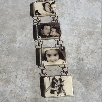 Vintage Custom Personalized double Photo Keychain Black&White Print Picture