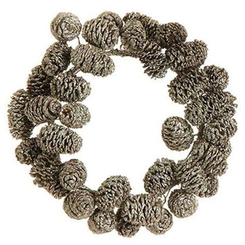 ONETOW 6' Metallic Gold Frosted and Glittered Pinecone Christmas Pillar Candle Ring