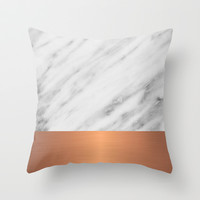 Carrara Italian Marble Holiday Rose Gold Edition Throw Pillow by cafelab