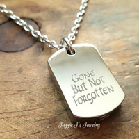 Gone But Not Forgotten Stainless Steel Dog Tag Urn Necklace, Memorial Necklace, Cremation Urn Necklace for Ashes, Engraved Urn Necklace