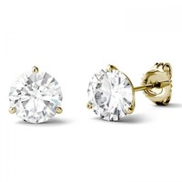 Forever One Round Moissanite Three Prong Martini Solitaire Stud Earrings