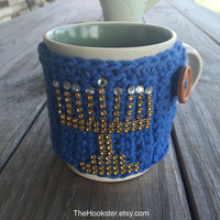 Handmade Crochet Chanukah Coffee Mug Cozy  - Blue with Gold Menorah Mug Cozy - Coffee Accessories - Chanukkah Gift Idea - Hanukah Mug Cozy