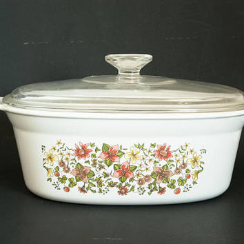 "Vintage Corning Ware ""Indian Summer"" 2 1/2 QT Chicken Roaster Casserole Dish, Oval Corningware Baker with Lid, Corelle Coordinate DC-2 1/2-B"