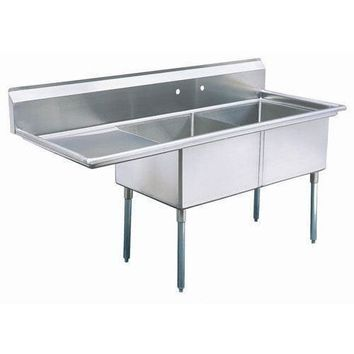 "Stainless Steel 2 Compartment Sink 63"" x 26"" with 20"" Left Drainboard"