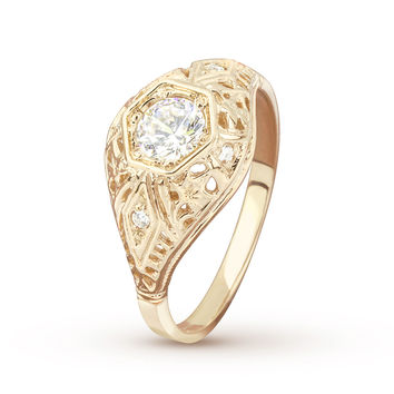 Antique Filigree Diamond Accent Yellow Gold Engagement Ring