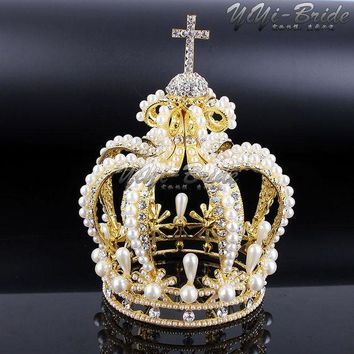 DCCKU62 New 155*117mm Big Crown Crystal With Pearl Tiara Wedding Crown Bride Womens Head Band Vintage Baroque Royal HairBand Accessories