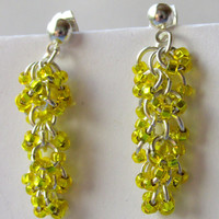 Shaggy Loops Earrings, Yellow Beaded Earrings, Chainmaille Earrings, Chain Maille, Dangle Earrings, Chandelier Earrings,