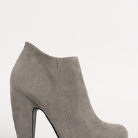 Bamboo Suede Round Toe Heeled Booties