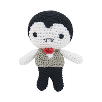 Dog Teeth Cleaning Cotton Crochet Squeaky Dog Toy for Small Dog - Dracula
