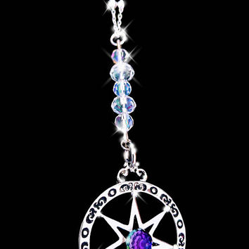 Septagram necklace, faerie star, unisex necklace, boho necklace, swarovski crystal necklace, star necklace, color change necklace, OOAK,