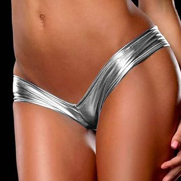 Women Panties Sexy Lingerie Ladies Night Games Glossy Leather Shorts Underwear Micro Tangas Mujer Shiny G Strings Briefs Dec30