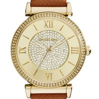 Women's Michael Kors 'Catlin' Crystal Accent Leather Strap Watch, 38mm - Brown/ Gold