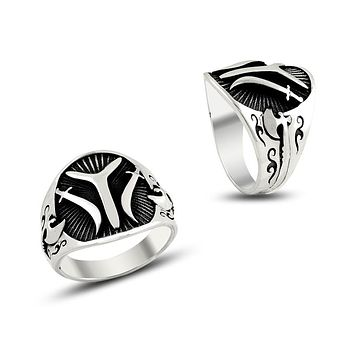 Turkish monogram ax band sterling silver ring
