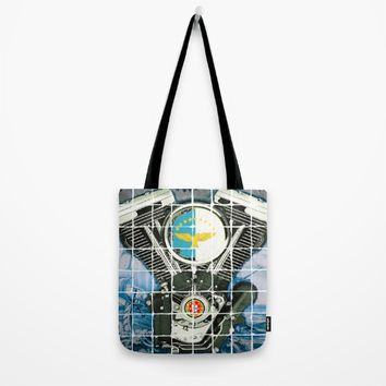 Traditional Portuguese Tile Biker Style Tote Bag by Tony Silveira