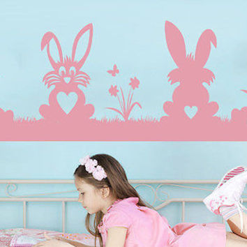 Easter Bunnies Decal Hare Wall Decals Rabbit Decorations Stickers Nursery C534