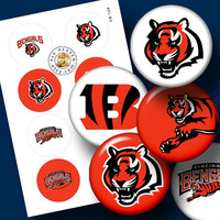 "Cincinnati Bengals Sport Logos Ditigal Collage Sheet - 1.313"" circles Printable Digital Download for Buttons, Bottle Caps, Crafts CB-128"