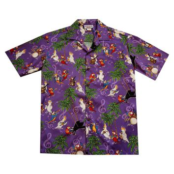 Party Birds Purple Cotton Hawaiian Shirt
