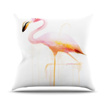 "Geordanna Cordero-Fields ""My Flamingo"" Pink White Outdoor Throw Pillow"