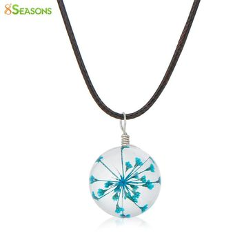 Transparent Glass Globe Dried Flower Necklace for Women