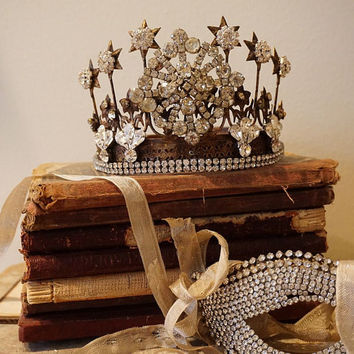 Rhinestone crown for statues distressed French Santos rusty oxidized tiara w/ salvaged home decor shabby cottage chic anita spero design