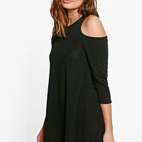 Saffy Cold Shoulder Knitted Swing Dress | Boohoo