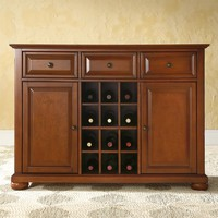 Cherry Finish Sideboard Buffet Table Dining Room Storage Cabinet