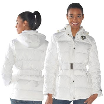 Pittsburgh Penguins Ladies Icing Full Zip Quilted Jacket - White -