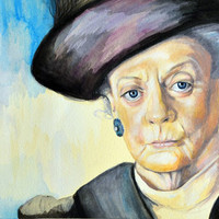 Portrait of Maggie Smith, Dowager Countess of Grantham, Downton Abbey  Art Print by Ashley White Jacobsen