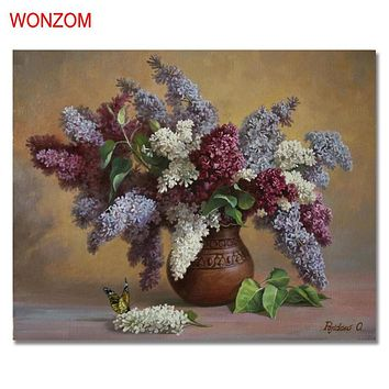 Flowers Vase Painting By Numbers On Canvas DIY HandPainted Unframed Pictures For Home Decor Christmas Gift Coloring By Numbers
