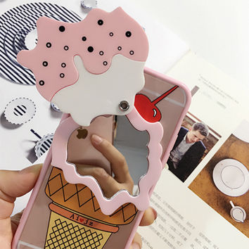 Cool Summer 3D Ice Cream with Mirror Design PC Back Case For iPhone 5 5S 6 6S 6plus Cover Phone Bag-04410