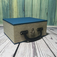 """Vintage Records Case . Wooden Record Carrier Case Holder . 45/7"""" Vinyl Singles Record Storage . Wooden Box . Record Carrying Box  ."""