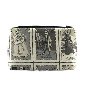 Day of the Dead Black and White Folkloric Skeleton Stamps: Party Favor Makeup Cosmetic Bag,  Dia de los Muertos Gift