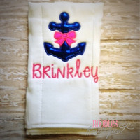Girl Anchor Baby Burp Cloth