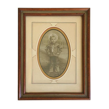 1900s Antique Sepia Toned Photo of Child in Wood Frame Hand Work on Mat / Art Deco Photograph Boy in Sailors Outfit