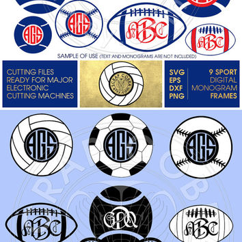 9 Baseball Volleyball Tennis Soccer Football Monogram Frames. Digital Decal - SVG, eps, DXF, PNG - cards, transfers, cutting machines cv-103