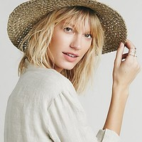 Free People Womens Evelyn Round Top Straw Hat