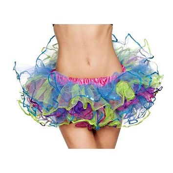 Rainbow with Sequin Trimmed TuTu Skirt