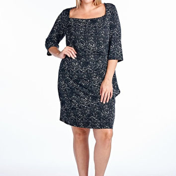 Marcelle Margaux Plus Square Neck Sneath Dress with Abstract Patterns