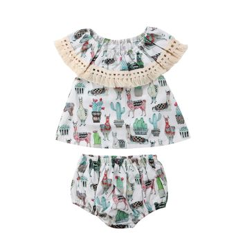 Newborn Baby Girl Animals Outfits Clothes Casual Tassel Dress+Shorts 2PCS Set
