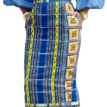Stylish African Print High Waist Bodycon Pencil Skirt