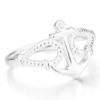 Women's 925 Sterling Silver Ring CZ Silver Anchor Nautical Biker Polished Size4