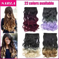 Clip In Ombre Hair Extension 2 Tones Gradient 50cm 20inch 130g  Synthetic