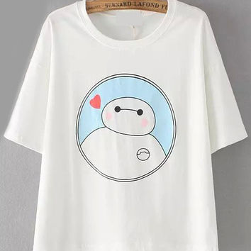 White Baymax Print Short Sleeve T-shirt