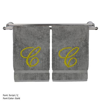 Monogrammed Hand Towel, Personalized Gift, 16 x 30 Inches - Set of 2 - Gold Embroidered Towel - Extra Absorbent 100% Turkish Cotton - Soft Terry Finish - For Bathroom, Kitchen and Spa - Script C Gray