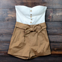 summer strapless romper  in tan